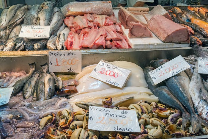 Fresh fish and seafood at the Mercado Central in Santiago