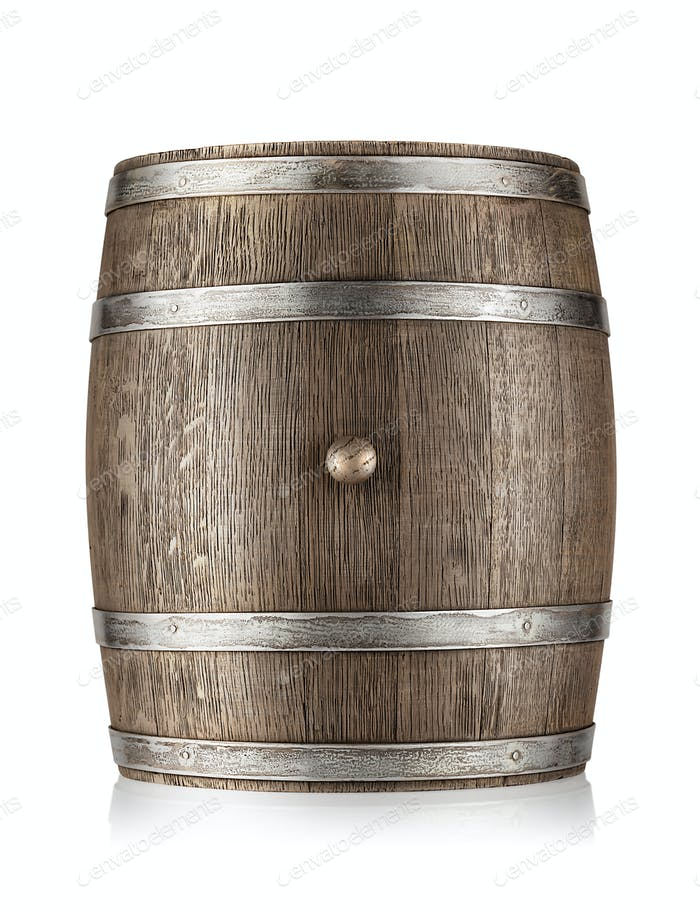 Old barrel with iron hoops