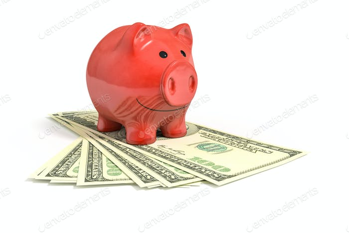 a red piggy bank over dollar notes