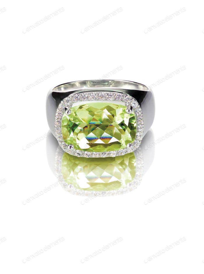 peridot engagement fashion diamond ring