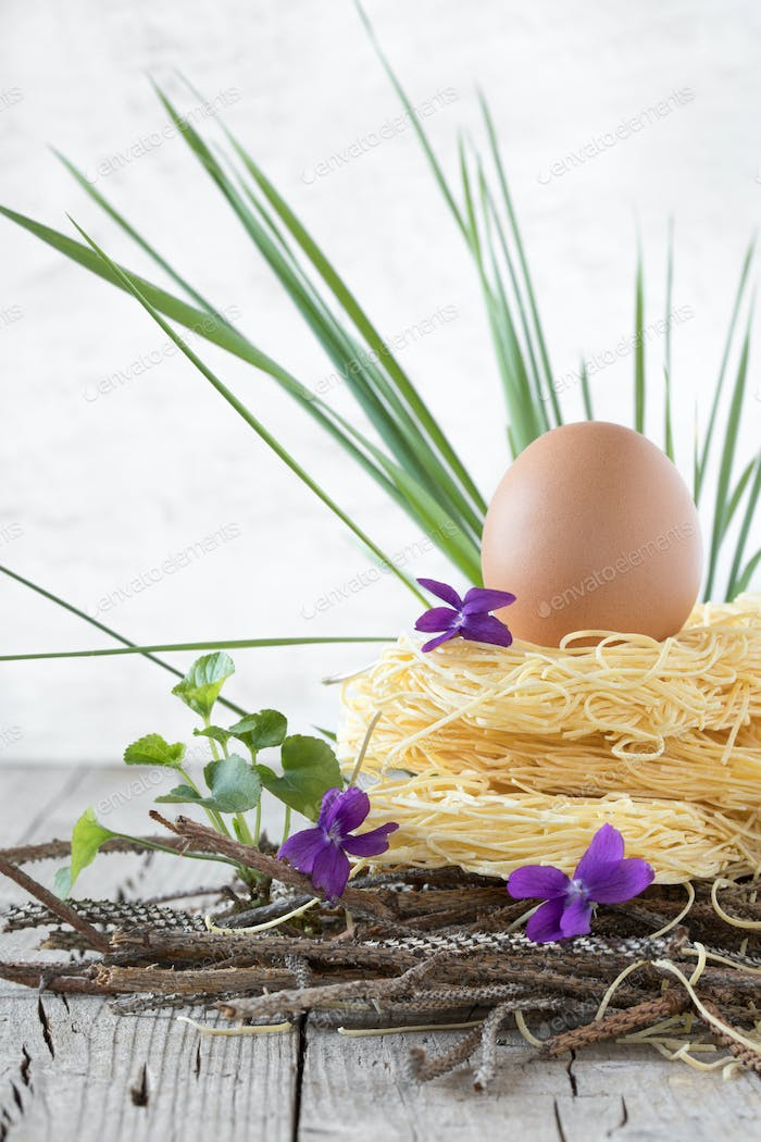 Nest Of Raw Pasta With Egg