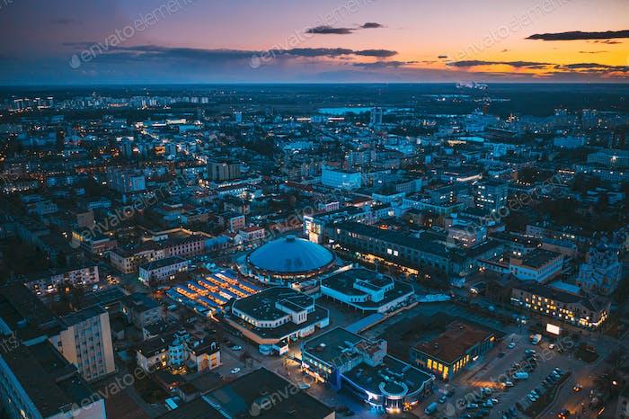 Brest, Weißrußland. Luftaufnahme der Vogelperspektive von Brest Cityscape Skyline. Bresst aus der Vogelperspektive
