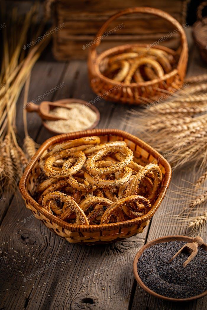Still life of pretzel rings