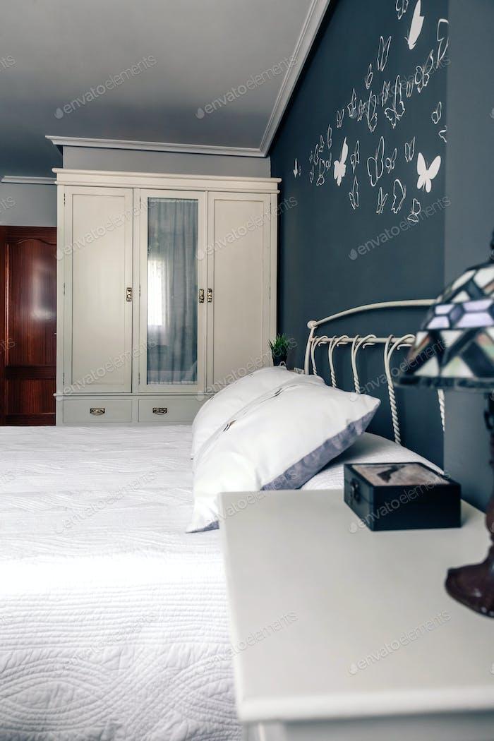 Elegant furnished double bedroom interior