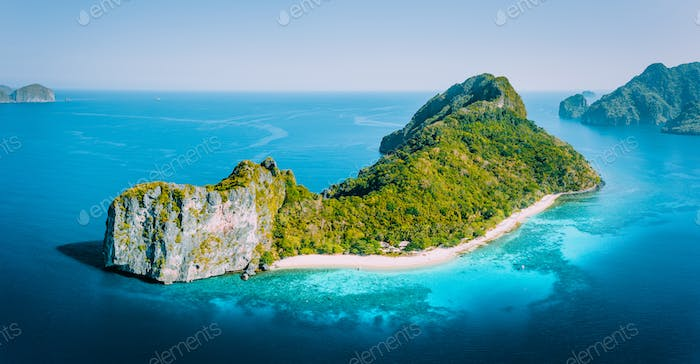 Early Morning drone Aerial Panorama view of Helicopter Island in the Bacuit Bay in El Nido, Palawan