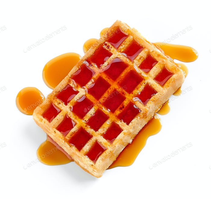 waffle with honey syrup
