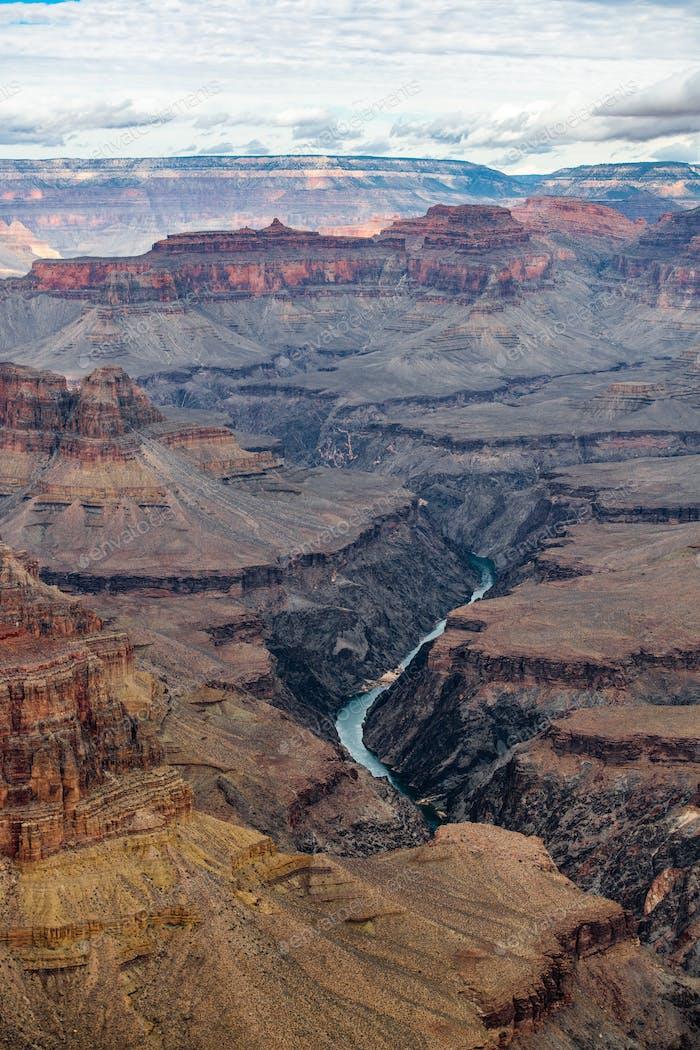 Grand canyon landscape and Colorado river, USA