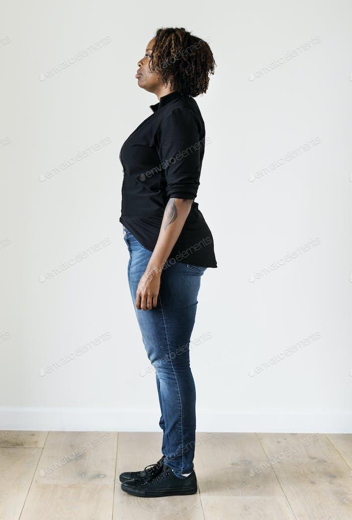 Portrait of black woman full body