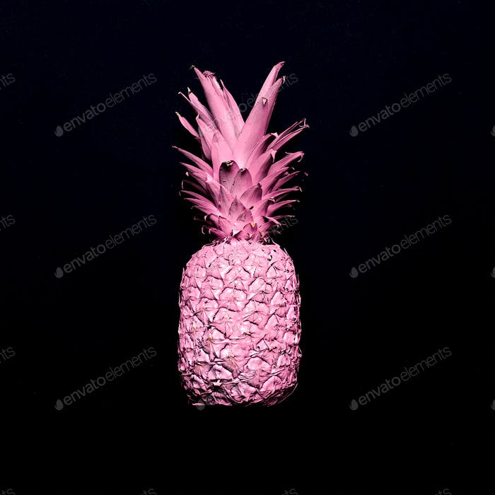 Pink pineapple. Surreal minimal art
