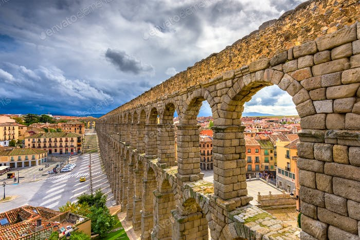 Segovia, Spain at the ancient Roman aqueduct