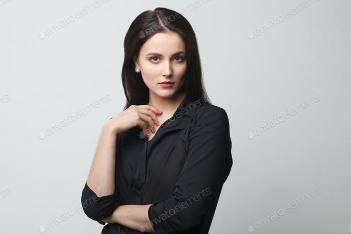 gorgeous brunette female, business style