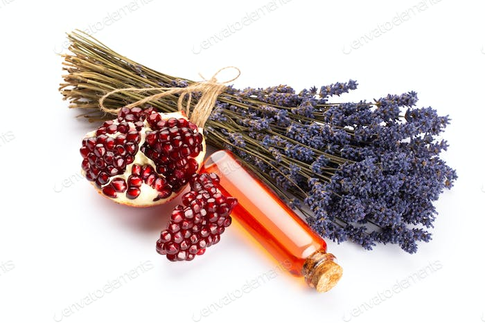 Natural cosmetics with lavender and pomegranate.