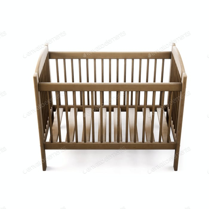 Cot bed isolated on white background. 3d rendering.