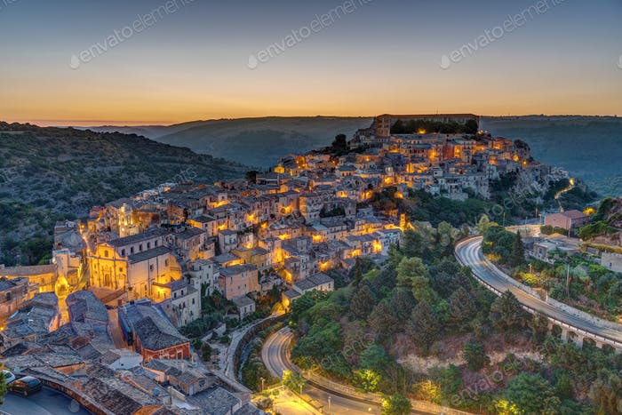 Ragusa Ibla in Sicily before sunrise