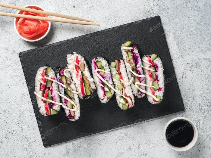 Vegan onigirazu, Draufsicht