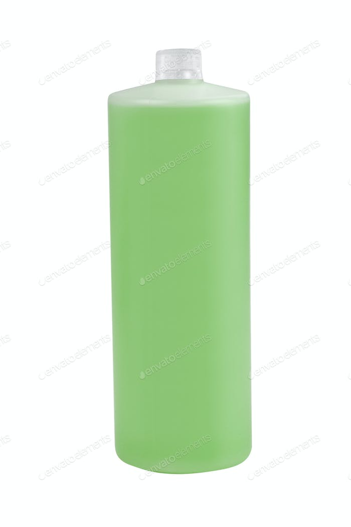 Green plastic bottle isolated on white