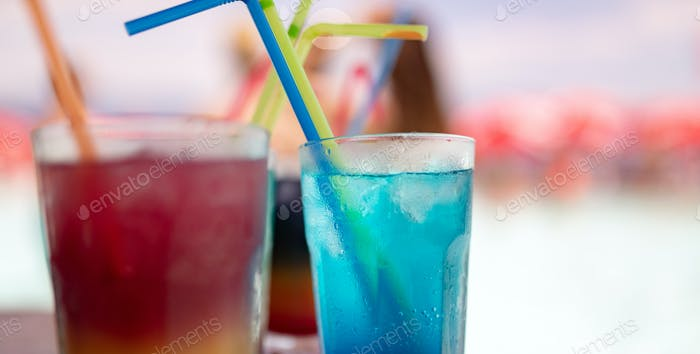 Tropical fresh cocktails drinks on tropical beach