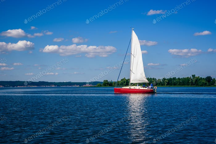 Sailing Boat on the River.