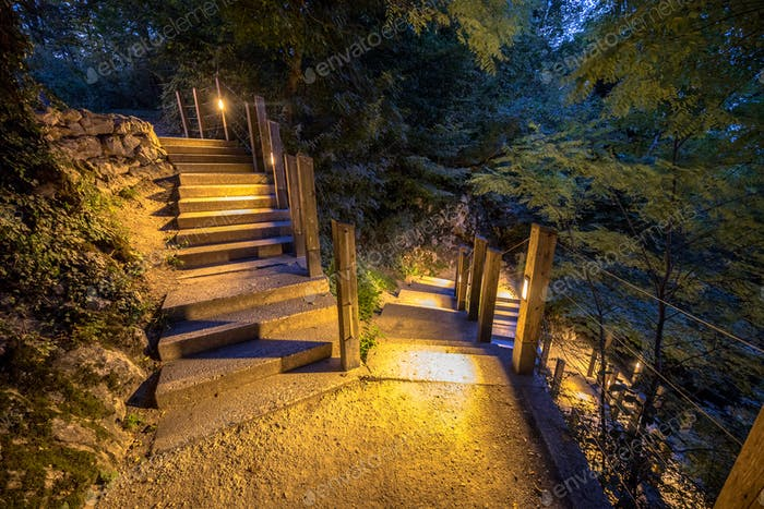 Illuminated outdoor Stairway in park