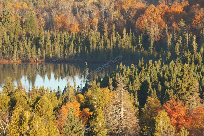 Small Lake Surrounded by Hills with Trees in Autumn Color