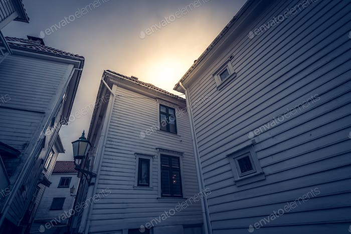 Traditional old wooden houses in the old part of Bergen town