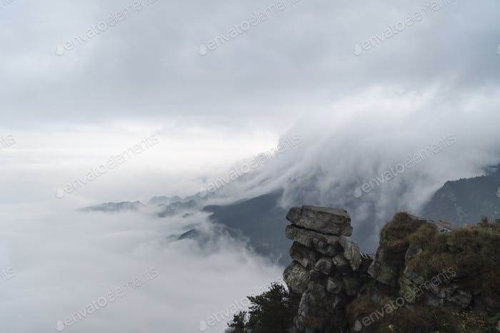 waterfall clouds in lushan mountain,  jiangxi province, China