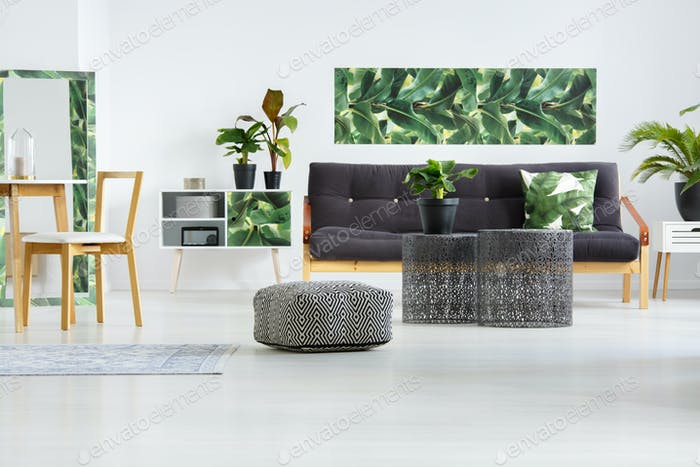 Pouf in floral living room
