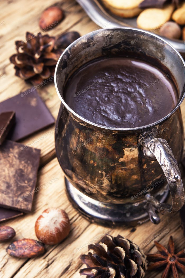Melting chocolate in a metal cup