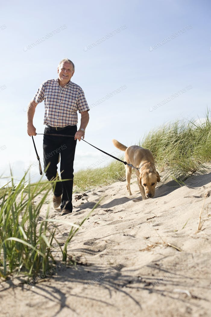 Portrait of happy senior man walking with dog at beach on sunny day