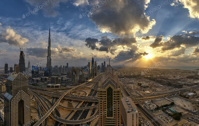 Cityscape of the Dubai, United Arab Emirates, with the Burj Khalifa and other skyscrapers under a