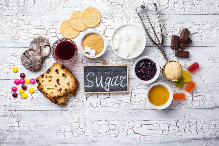 Unhealthy products high in sugar
