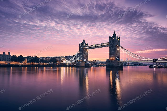 Tower Bridge at colorful sunrise