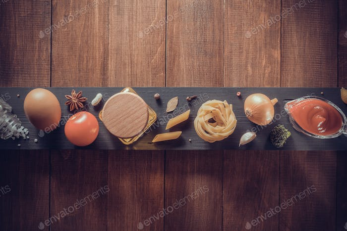 spice and herb on wood