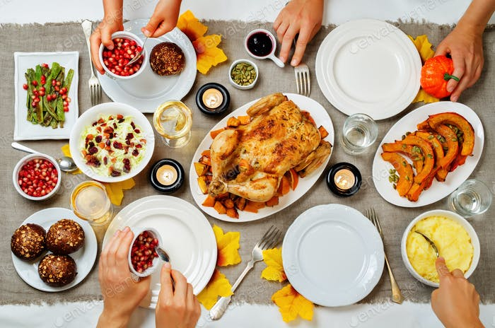 Autumn Thanksgiving main dish celebration family concept