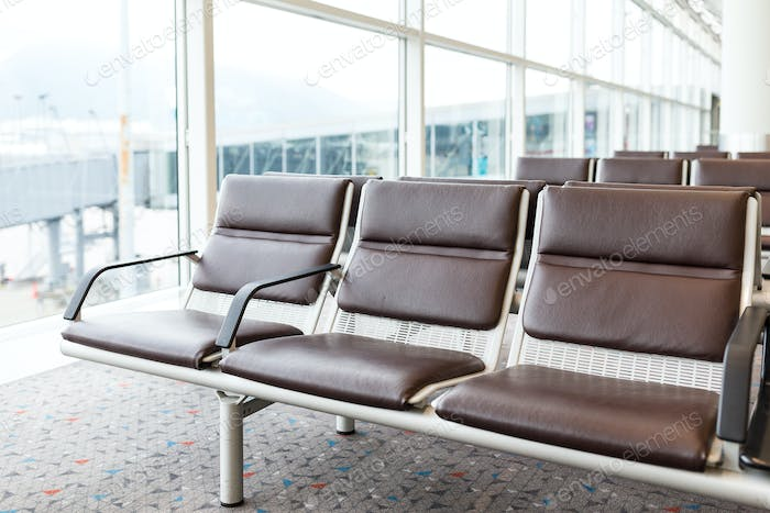 Empty chair at airport