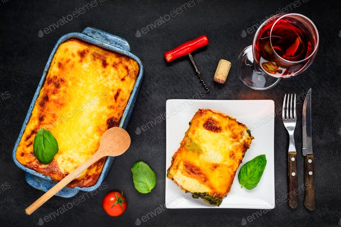 Baked Lasagna Served with Rose Wine