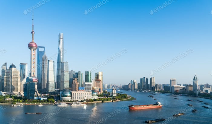 beautiful shanghai scenery on both sides of the huangpu river