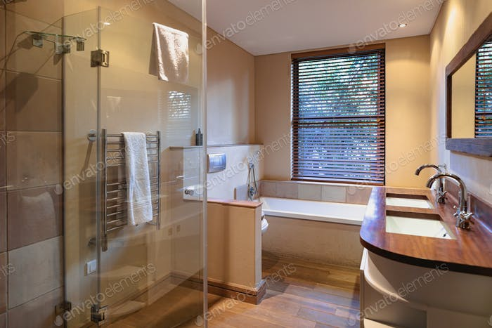 Interior of beautiful luxury bathroom of comfortable modern home