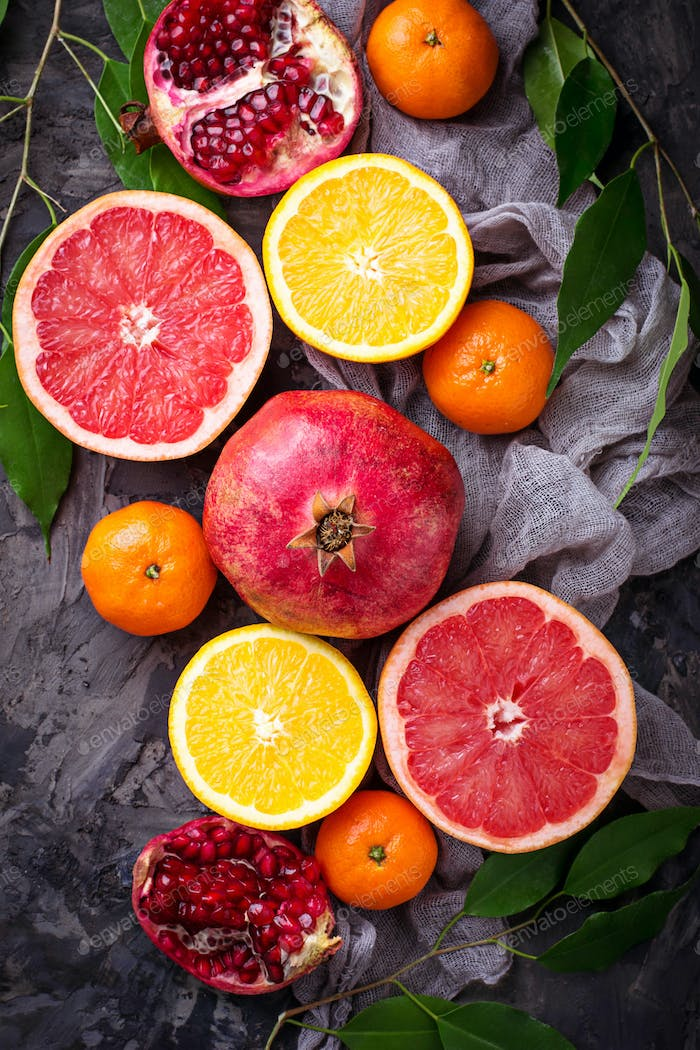 Different type of citrus and pomegranate