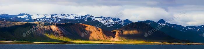 Coastline With Evening Light Panorama, Iceland