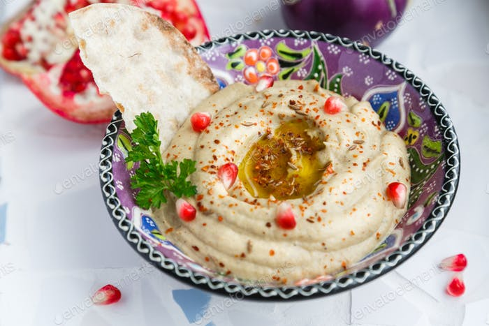 Baba ghanoush, levantine eggplant dip with olive oil and parsley