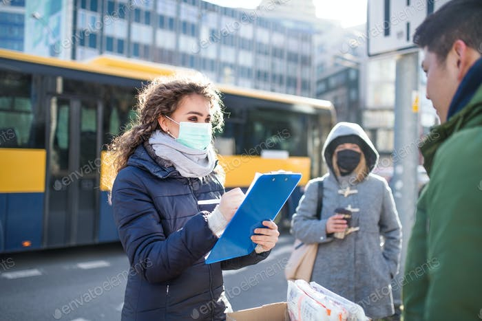 Coronavirus in city, prevention and protection concept.