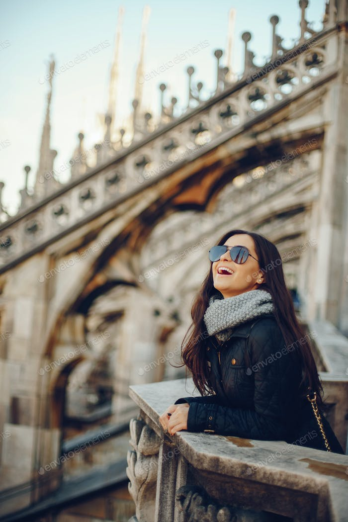 female tourist exploring the duomo in Milan