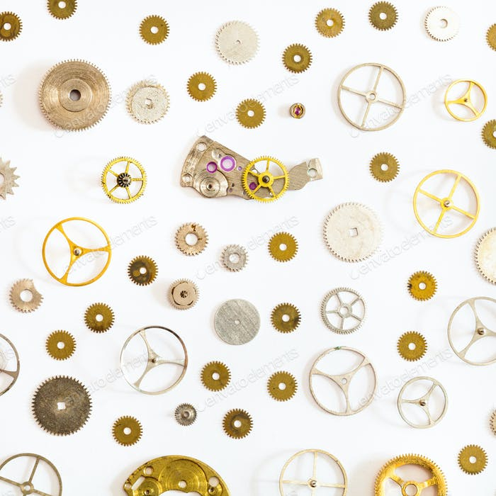 Muster aus verschiedenen alten Uhrenersatzteilen