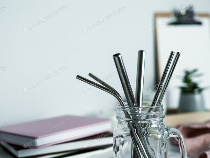 Metal recyclable drinking straws, copy space