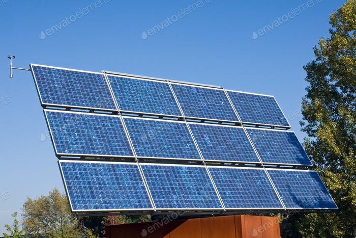 Solar energy panel and trees