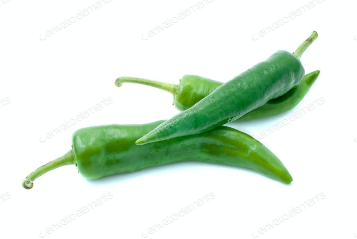 Few green chili peppers