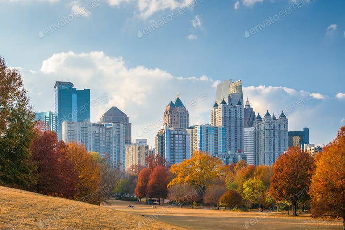 Atlanta, Georgia, USA midtown skyline from Piedmont Park in autu