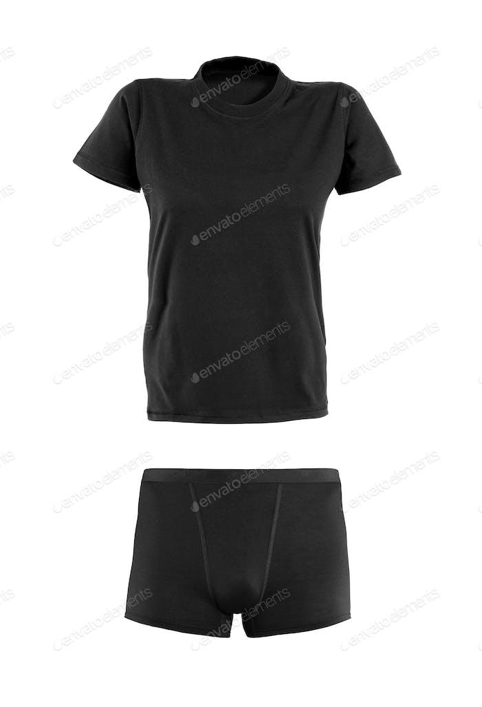 Black t-shirt and underwear on white background