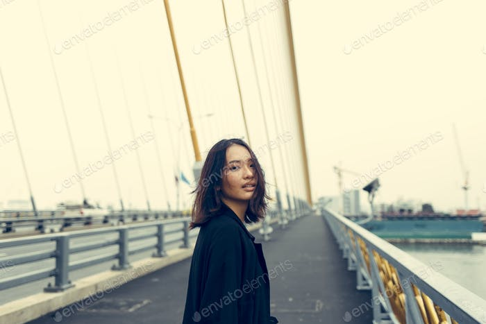 Woman Teenager Portrait Hipster Style Concept